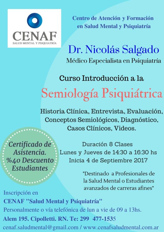 Curso -Introducción a la Semiología Psiquiátrica 2017- 2º semestre